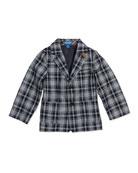 Plaid Twill Two-Button Blazer, Blue, Sizes 2T-7