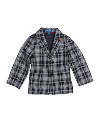 Plaid Twill Two-Button Blazer, Blue, Sizes 2T-7