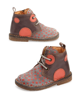 Polka-Dot-Print Eco Leather & Suede Boots, Youth, Purple/Orange