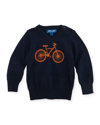 Bicycle V-Neck Sweater, Navy, 3-24 Months
