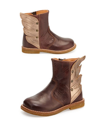 Winged Leather Boots, Youth, Brown