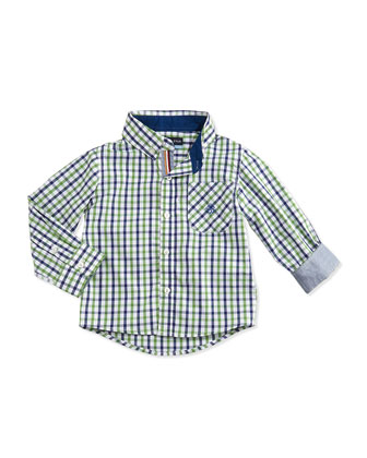 Check Button-Down Oxford Shirt, Green, 2T-7Y