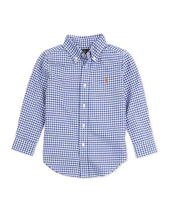 Blake Gingham Oxford Shirt, Royal, 2T-3T
