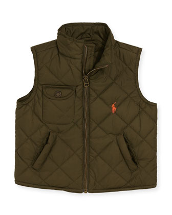 Diamond-Quilted Vest, Olive, 2T-3T
