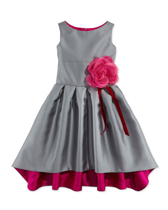 Gunmetal Glam Ribbon Rosette-Detailed Dress, Gray/Pink, Sizes 8-12