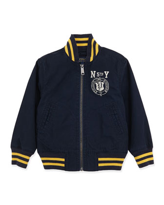 Twill Varsity Jacket, Aviator Blue, Sizes 4-7