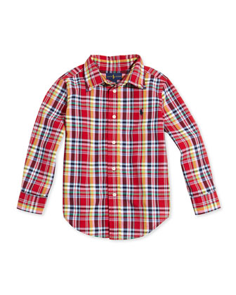 Blake Plaid-Poplin Shirt, Red Multi, Sizes 4-7