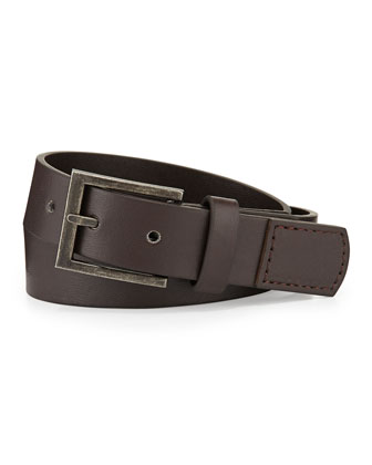 Boys' Faux-Leather Belt, Brown, 6-24 Months