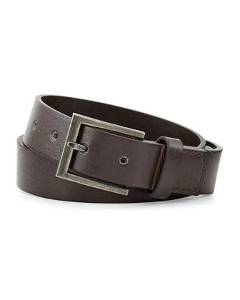Boys' Faux-Leather Belt, Brown