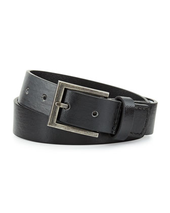 Boys' Faux-Leather Belt, Black