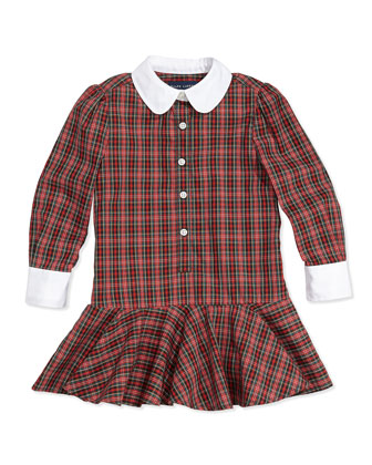 Tartan Plaid Poplin Dress, 2T-3T