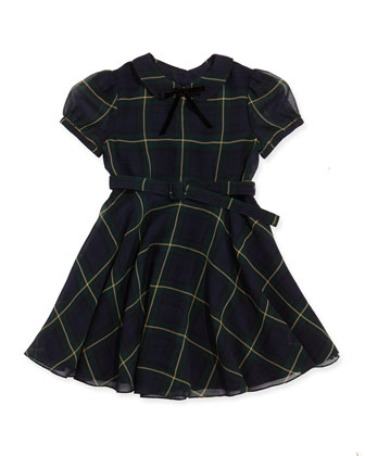 Tartan-Plaid Chiffon Dress, Navy/Hunter Green, 2T-3T