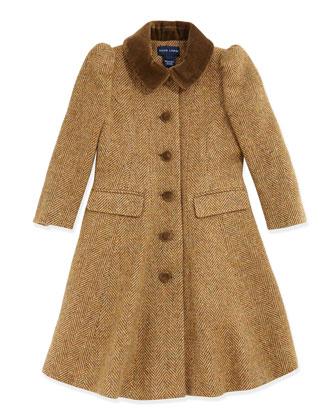 Herringbone Tweed Princess Coat, Tan, 2T-3T