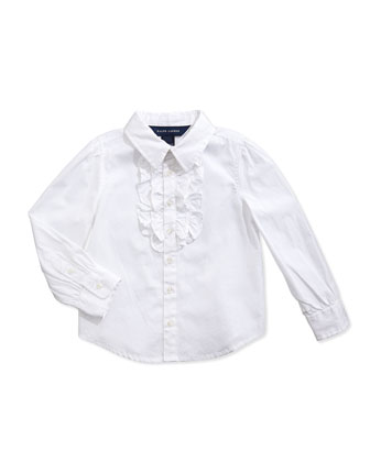 Ruffled Broadcloth Shirt, White, 2T-3T