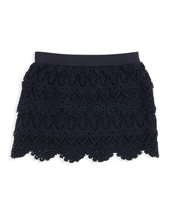 Tiered Lace Skirt, Aviator Navy, 2T-3T