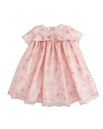 Cap-Sleeve Lace-Overlay Dress, Pink, 6-24 Months