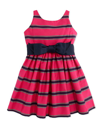 Striped Cotton-Sateen Dress, Pink Multi, Sizes 4-6X