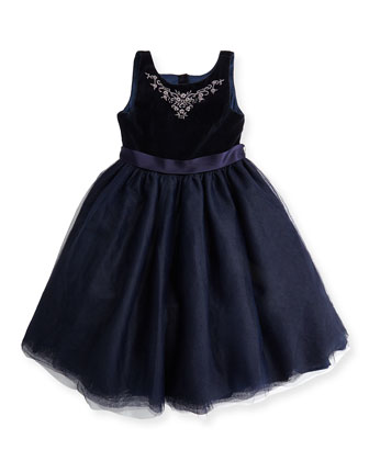 Embroidered Velvet & Tulle Dress, Heritage Navy, 4-6X