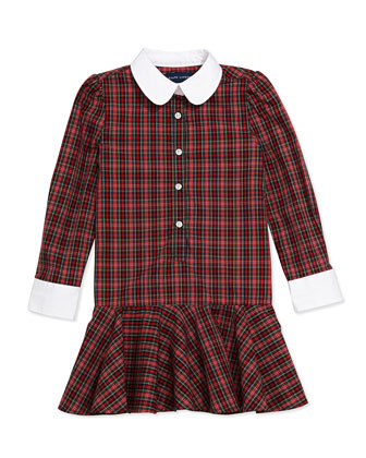 Tartan Plaid Poplin Dress, Sizes 4-6X