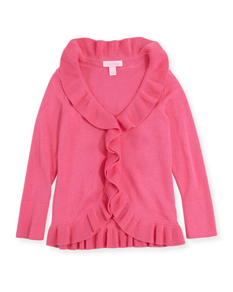 Keirnan Long-Sleeve Ruffle Cardigan, Pink, XS-XL