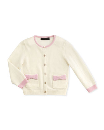 Cashmere Bow-Pocket Cardigan, White/Pink, 6-18 Months
