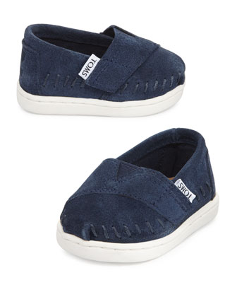 Classic Suede Slip-On, Navy, Tiny