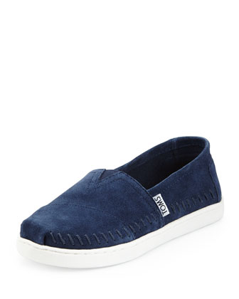 Classic Suede Slip-On, Navy, Youth