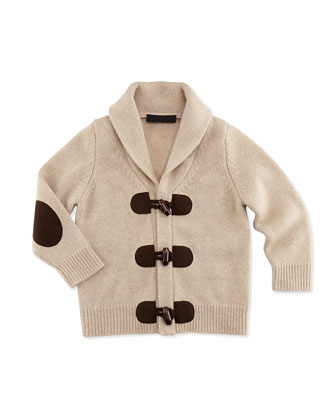 Cashmere Toggle-Front Cardigan, Taupe, 6-18 Months