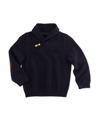 Cashmere Shawl-Collar Pullover Sweater, Navy, 6-18 Months