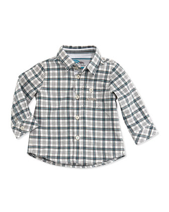 Plaid Button-Down Shirt, Blue, Sizes 3-4