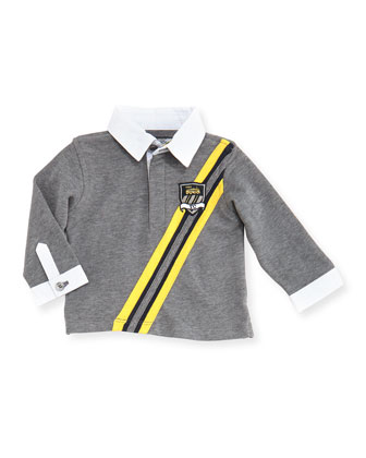 Long-Sleeve Rugby Polo, Gray, Sizes 3-4