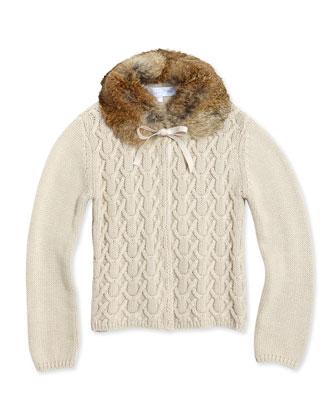 Detachable Fur-Collar Cardigan, Girls' Sizes 2-6