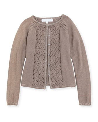 Pointelle-Knit Cardigan, Taupe, Sizes 2-6