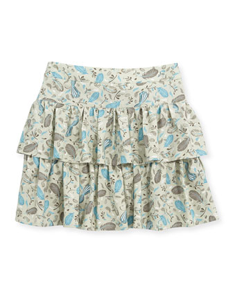 Feather-Print Ruffle Skirt, Taupe, Sizes 2-6