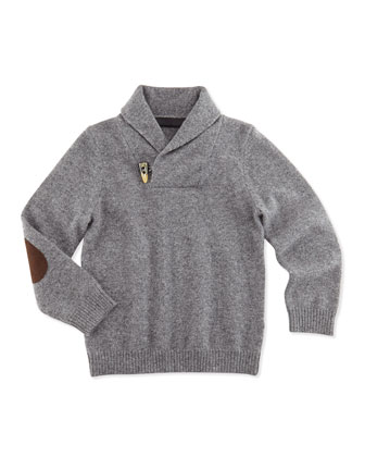Cashmere Shawl-Collar Pullover Sweater, Charcoal, Sizes 2-6