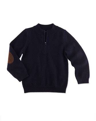 Cashmere 1/2-Zip Pullover Sweater, Navy, Sizes 2-6