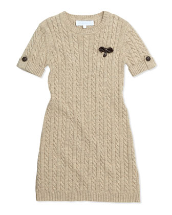 Cable-Knit Short-Sleeve Dress, Girls' Sizes 8-12