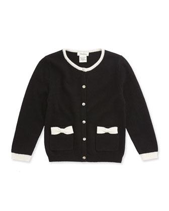 Cashmere Bow-Pocket Cardigan, Black, Sizes 2-6
