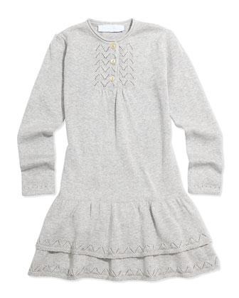 Knit Drop-Waist Dress, Gray, Sizes 8-12