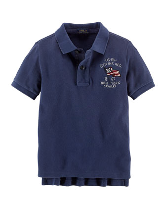 Novel Flag-Detailed Mesh-Knit Polo, Dark Cobalt, 2T-3T