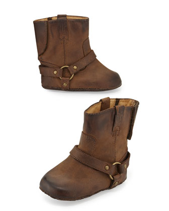 Leather Harness Bootie, Tan, Infant