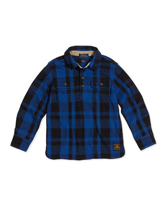Plaid Polar-Fleece Hunting Shirt, Heritage Blue, 2T-3T