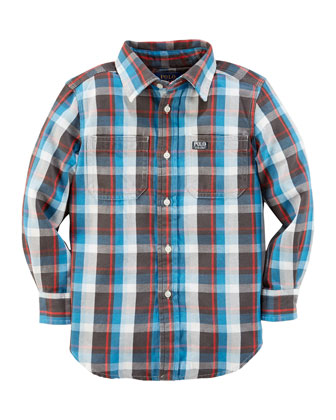 Plaid Twill Double-Pocket Shirt, Blue, 2T-3T