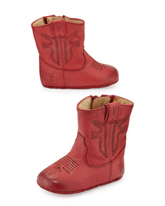 Leather Rodeo Bootie, Burnt Red, Infant/Toddler