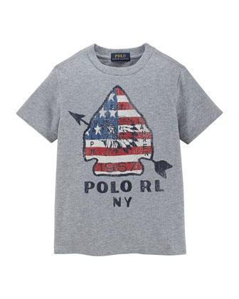 Graphic Arrow-Print Jersey Tee, Dark Sport Heather, Sizes 2T-3T