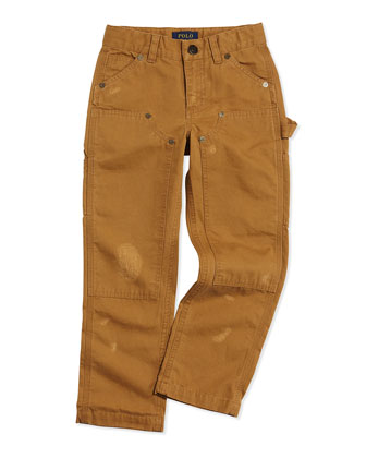 Workwear Distressed Chino Pants, Deep Khaki, Sizes 2T-3T