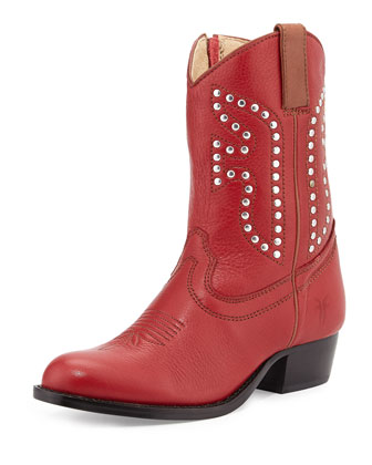 Leather Rodeo Boot, Red, Youth