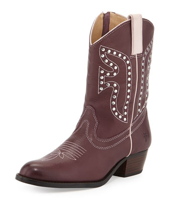 Leather Rodeo Boot, Plum, Youth