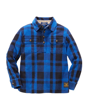 Plaid-Fleece Pullover Shirt, Heritage Blue, Sizes 4-7