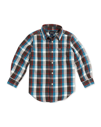 Plaid Twill Double-Pocket Shirt, Blue, Sizes 4-7